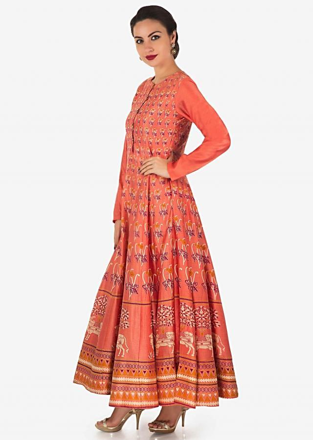 Long anarkali dress in peach with floral print all over only on Kalki