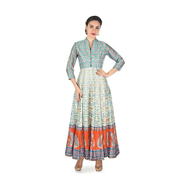 Long dress featuring in cotton silk with multi color print only on Kalki