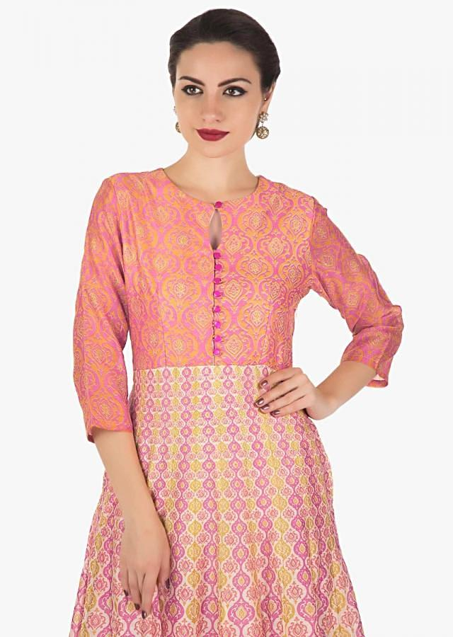Long dress featuring in multi color print along with key hole neckline only on Kalki