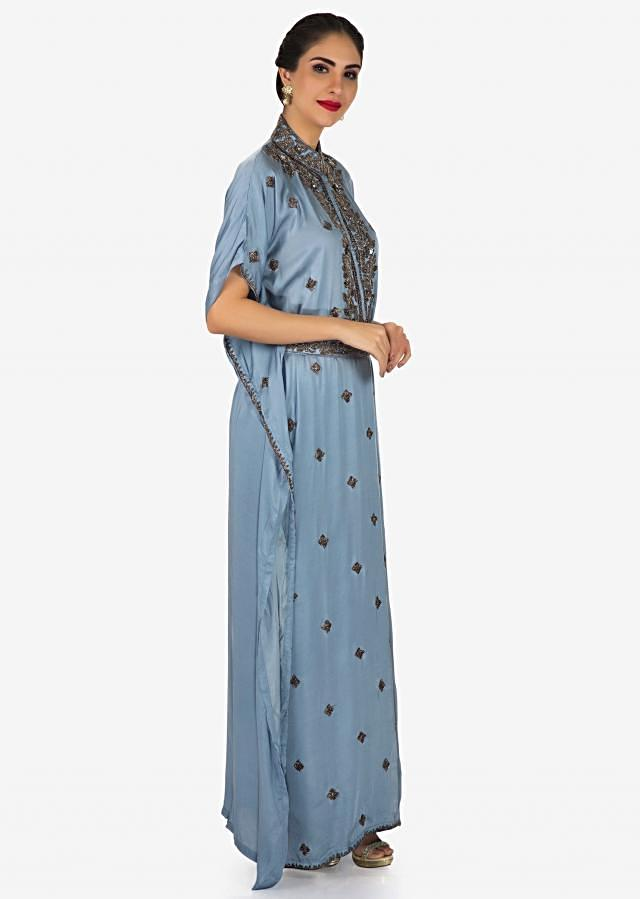 Long kaftans dress blue grey in silk with embroidered chinese collar only on Kalki