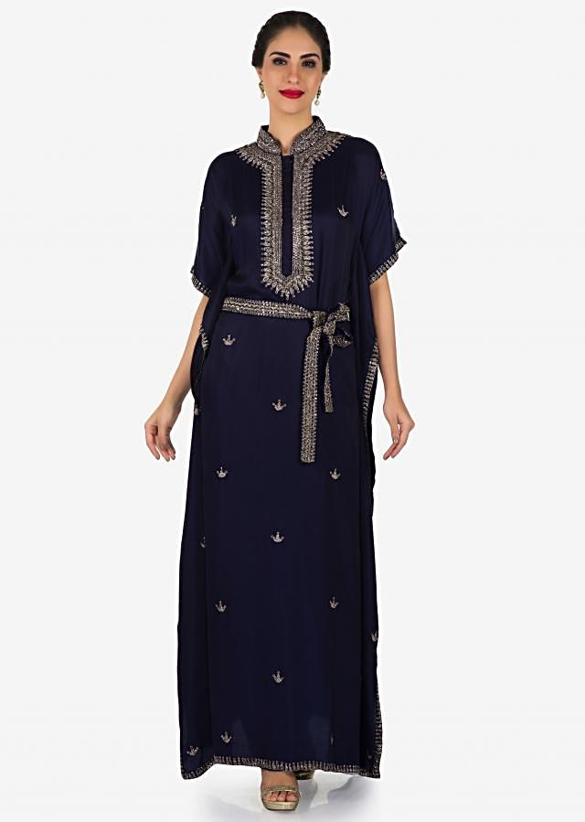Long kaftans dress in silk with embroidered chinese collar only on Kalki