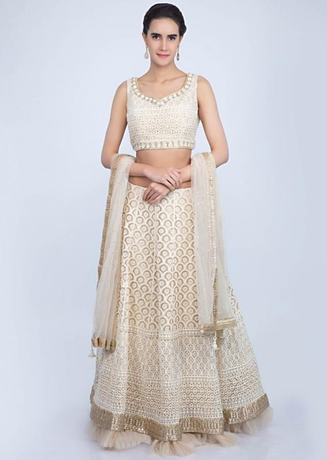 Lucknowi embroidered cream lehenga set with net ruching only on Kalki