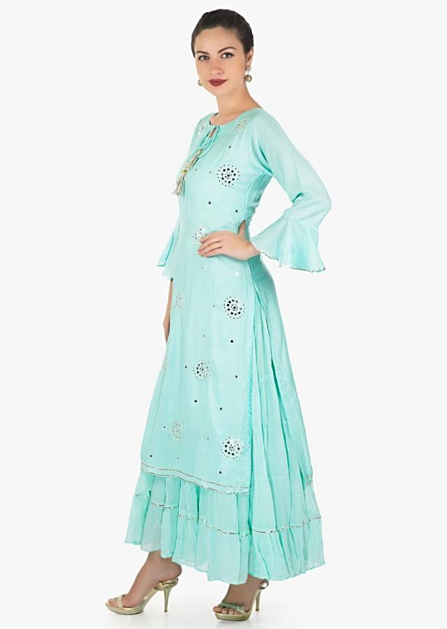 Mint blue double layer dress embellished in mirror and resham embroidery only on Kalki