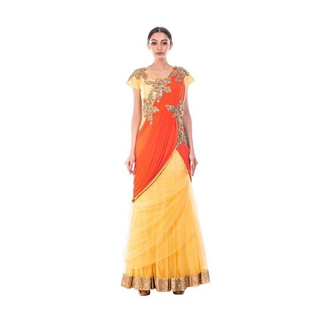 Macaroon Yellow Gown Saree