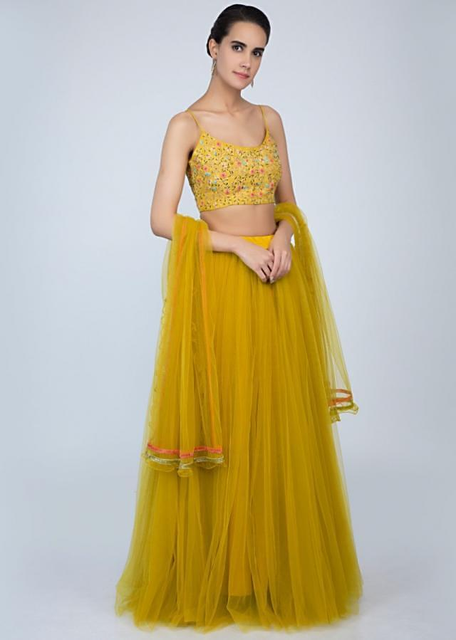 Madellion yellow net lehenga with embroidered crop top and frilled net dupatta only on Kalki