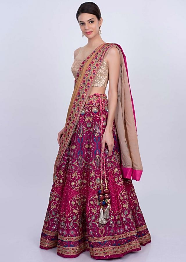 Magenta cotton silk printed lehenga with dark beige silk dupatta only on Kalki