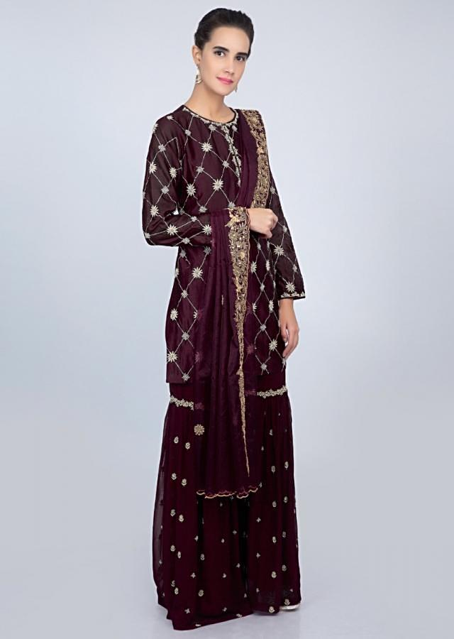 Magenta cotton silk sharara suit set with embroidery and butti only on kalki