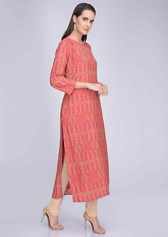 Magenta Kurti In Embroidered Crepe With Digital Print Online - Kalki Fashion