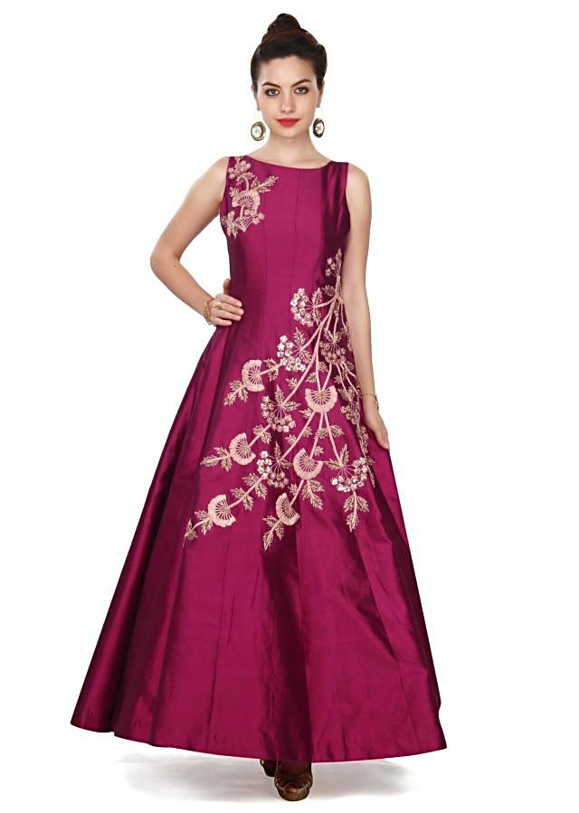 Magenta gown adorn in zari and sequin in floral embroidery only on Kalki