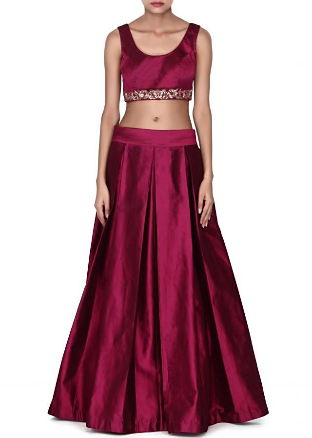Magenta lehnga matched with embroidered cape only on Kalki