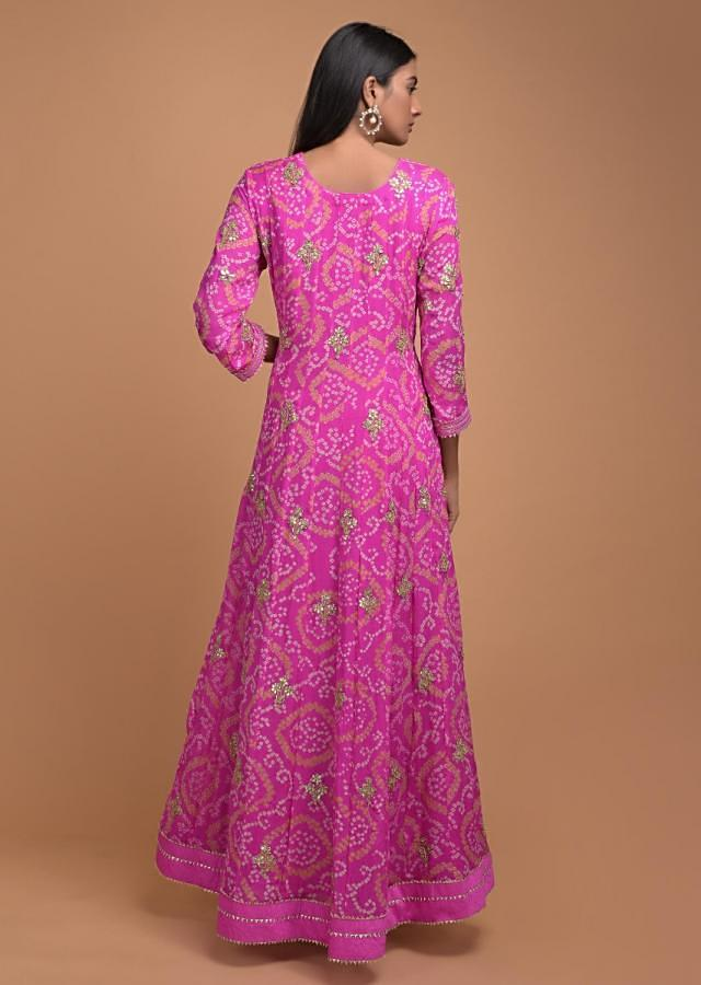 Magenta Pink Anarkali Suit In Georgette With Bandhani Print And Gotta Work Online - Kalki Fashion