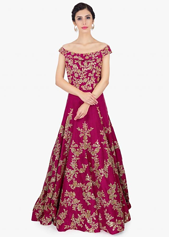 Magenta raw silk embroidered gown with trail at the back only on Kalki