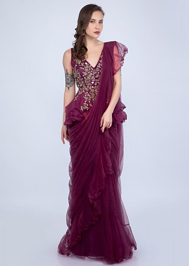Magenta Ready Plated Frilled Saree With Embroidered Peplum Blouse Online - Kalki Fashion