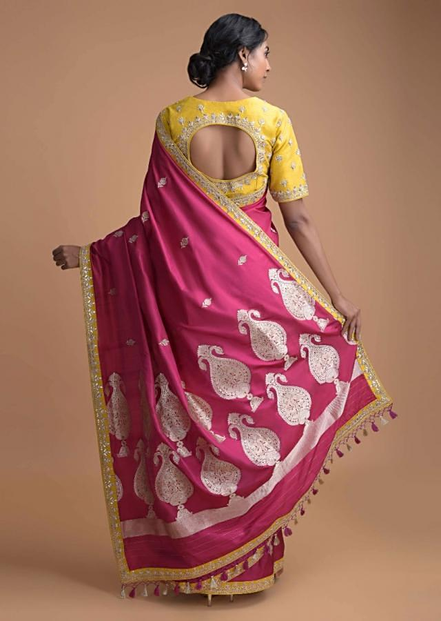 Magenta Saree In Silk With Weaved Pattern And Cyber Yellow Blouse Online - Kalki Fashion