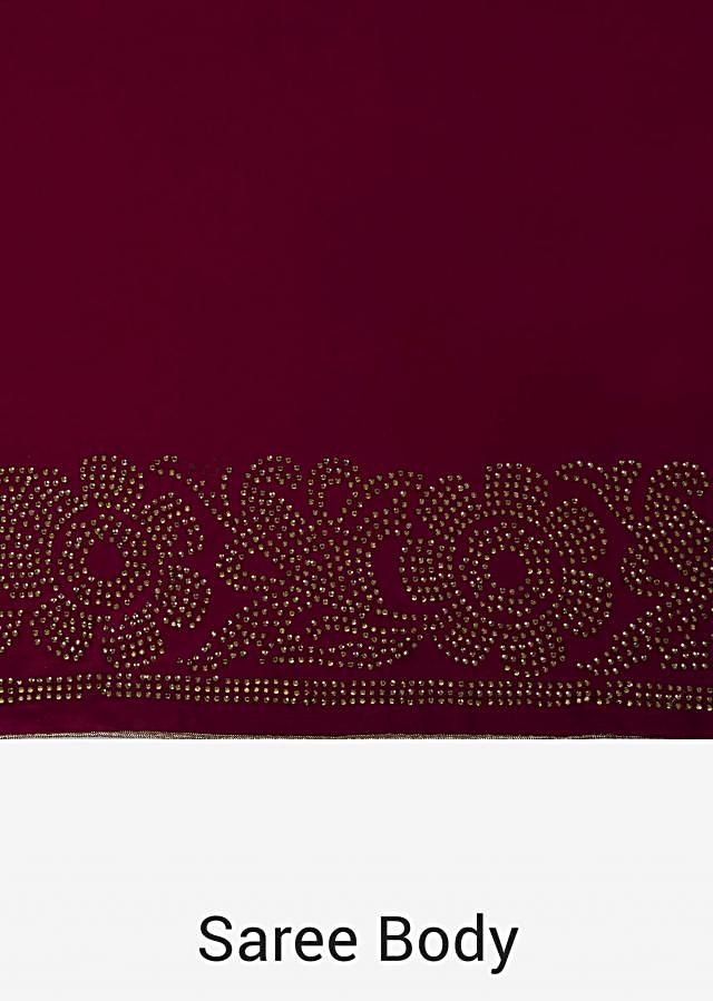 Magenta saree in with kundan border and gold unstitched blouse only on Kalki
