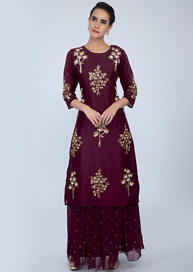 Magenta sequins and moti embroidered suit with matching skirt only on Kalki