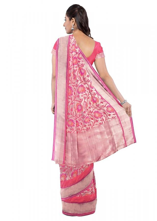 Magenta Saree In Two Toned Banarasi Silk With Coral Pink Two Toned Blouse Piece Online - Kalki Fashion