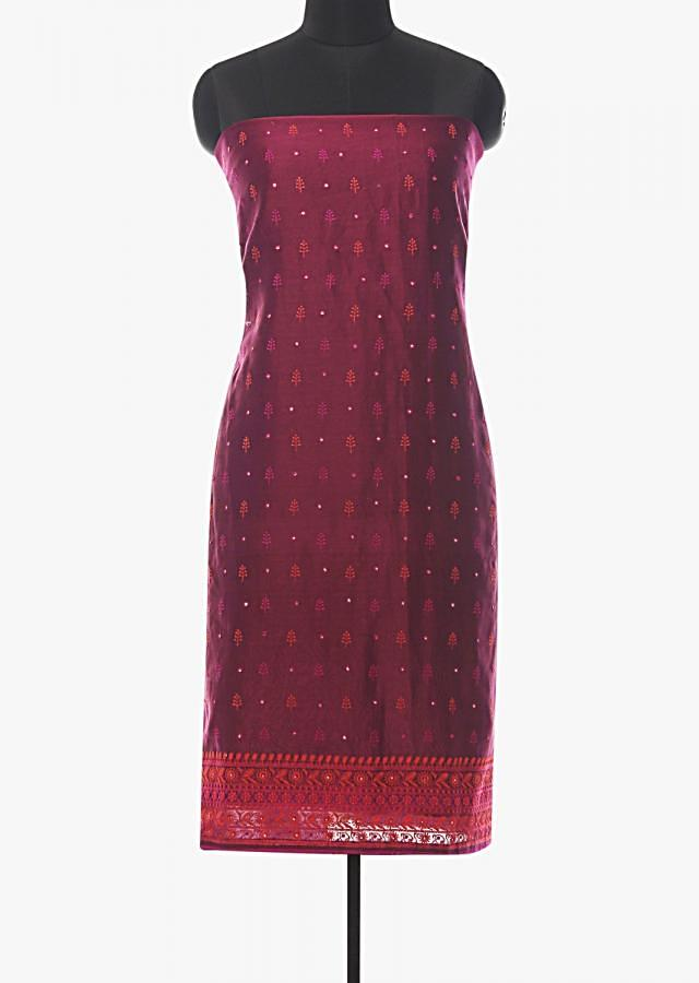 Magenta unstitched suit in embroidered butti and border work only on Kalki