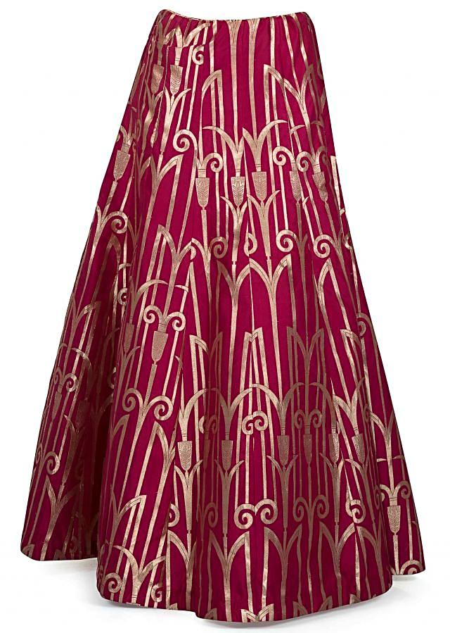 Magenta brocade silk lehenga matched with baby pink embroidered crop top only on Kalki
