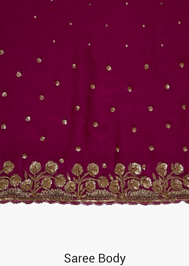 Magenta Crepe Chiffon Saree and Blouse Featuring Cut Dana and Sequins only on Kalki