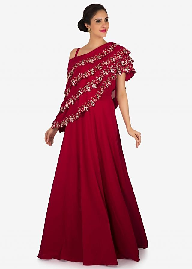 Magenta gown in georgette crafted in zardosi embroidered work only on Kalki