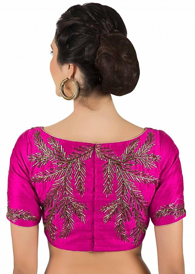 Magenta pink blouse in raw silk with cut dana embroidery in leaf motif only on Kalki