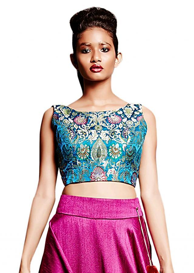 Magenta pink skirt matched with crop top only on Kalki