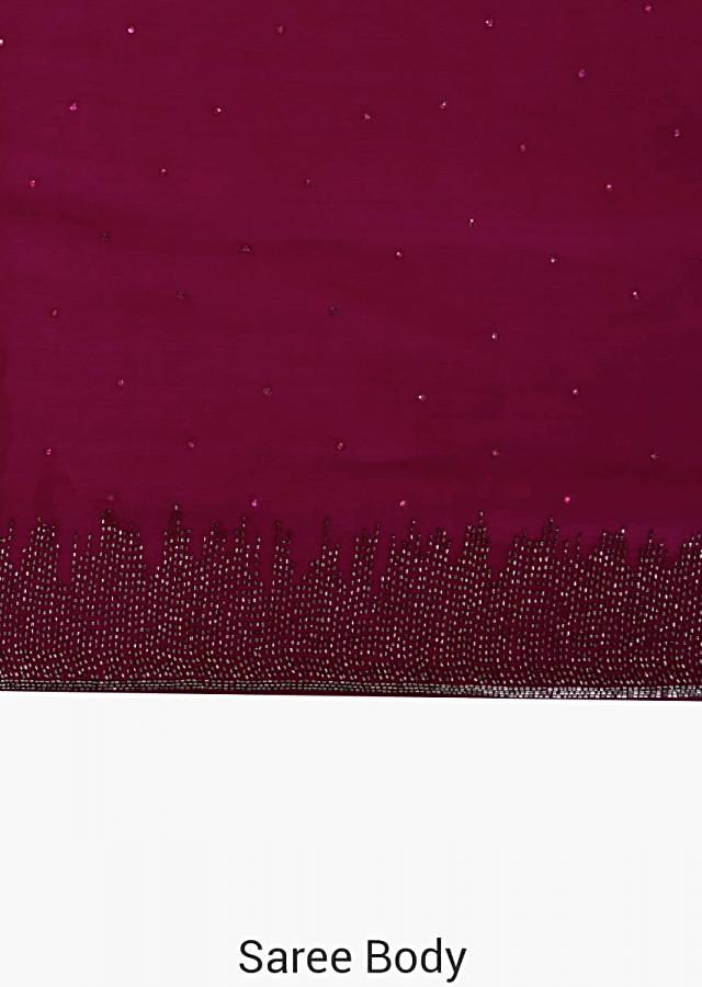 Magenta saree in satin chiffon with cut dana border only on Kalki