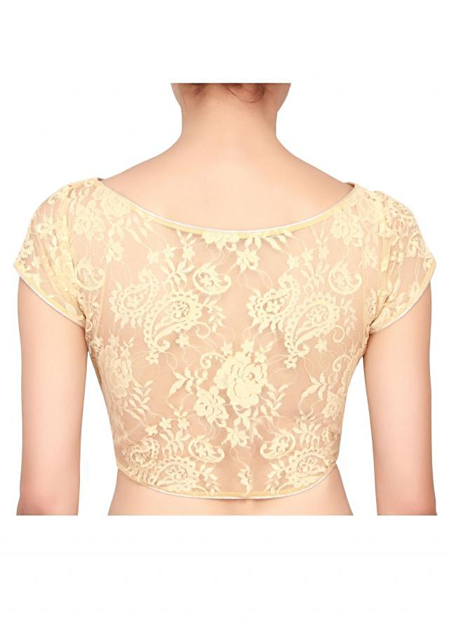 Maggie sleeve lurex and lace blouse in gold color only on Kalki