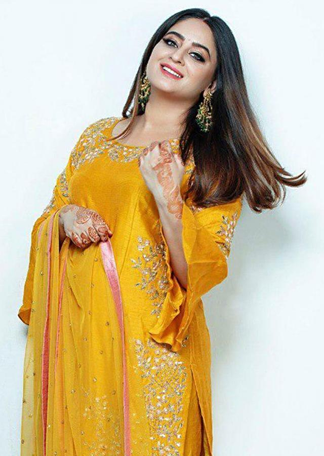 Mahi Vij In Kalki Mustard Yellow Sharara Suit With Floral Embroidery