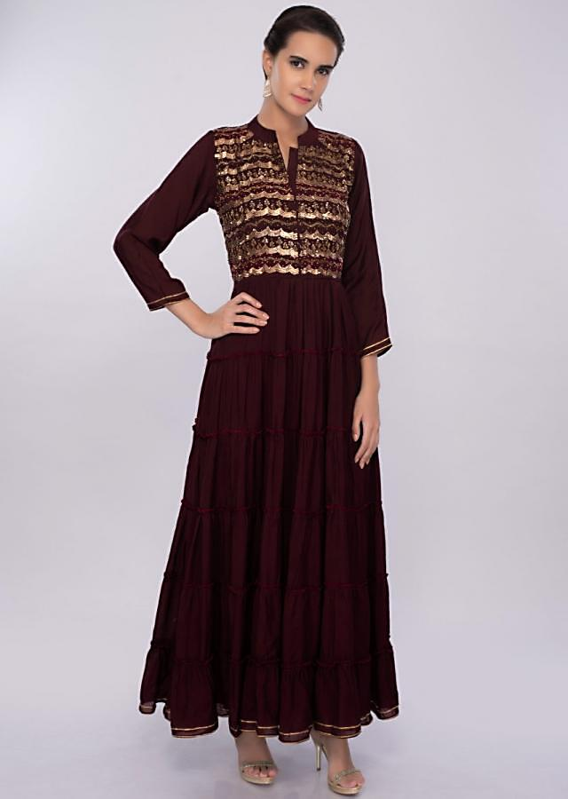 Mahogany cotton silk tunic dress with gathers only on kalki