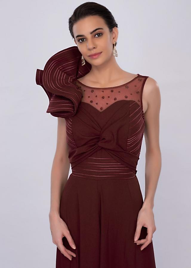 Mahogany jump suit with 3 D sleeves only on Kalki