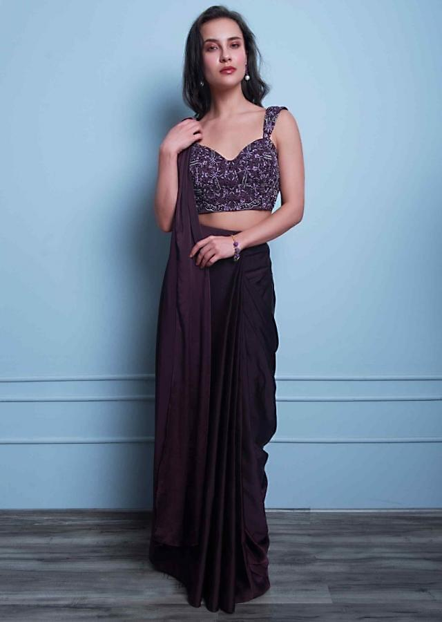 Mahogany Ready Pleated Draped Saree In Satin Crepe With Matching Embroidered Net Blouse Online - Kalki Fashion