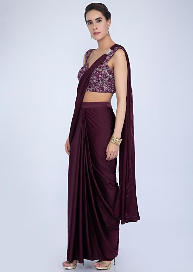 Mahogany satin crepe ready pleated draped saree with matching embroidered net blouse only on Kalki
