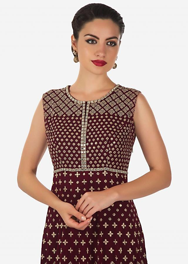 Maroon anarkali suit adorn in resham and mirror work all over only on Kalki