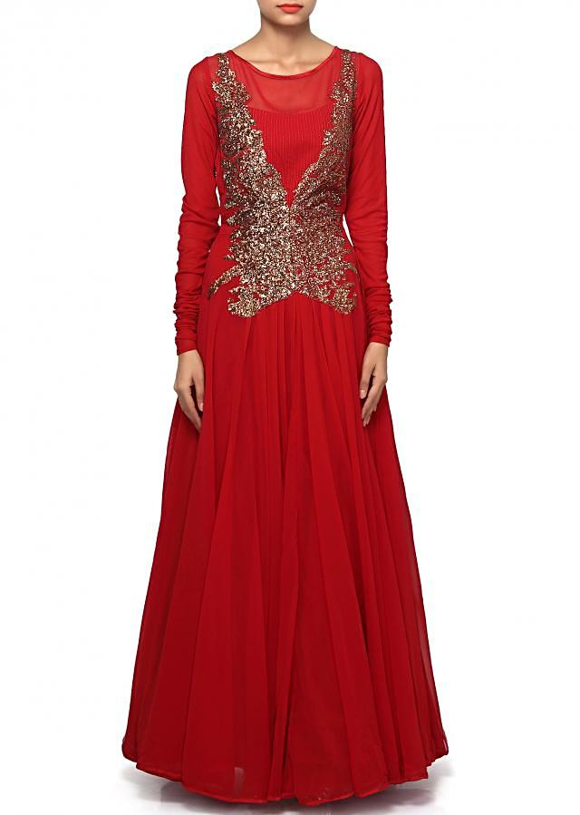 Maroon anarkali suit adorn in sequin embroidery only on Kalki