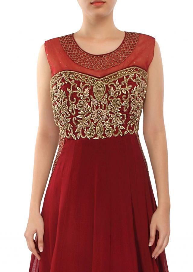 Maroon anarkali suit adorn in zari French knot embroidery only on Kalki