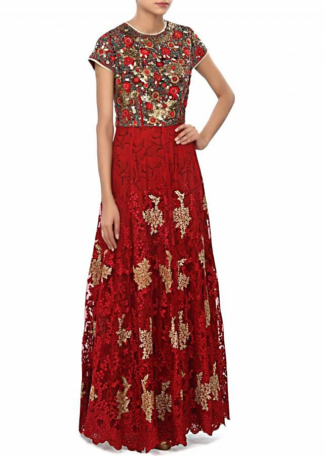 Maroon anarkali suit embellished in thread and sequin embroidery only on Kalki
