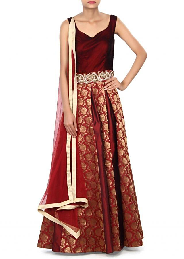 Maroon anarkali suit enhanced in moti and zardosi embroidery only on Kalki