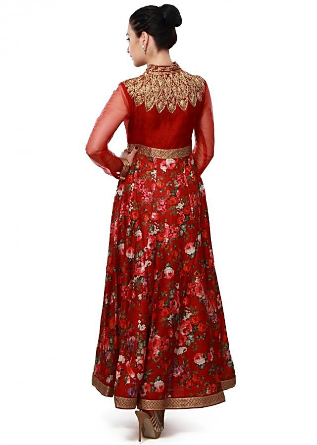 Maroon anarkali suit enhanced in zari and kundan embroidery only on Kalki
