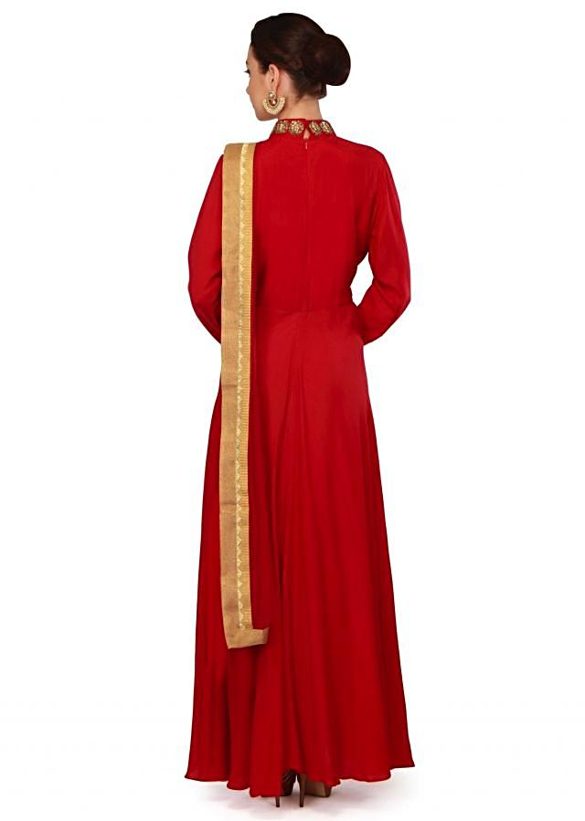 Maroon anarkali suit in zardosi cut work butti only on Kalki