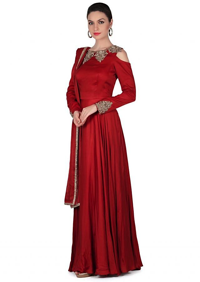 Maroon anarkali suit with cut work embroidered neckline only on Kalki