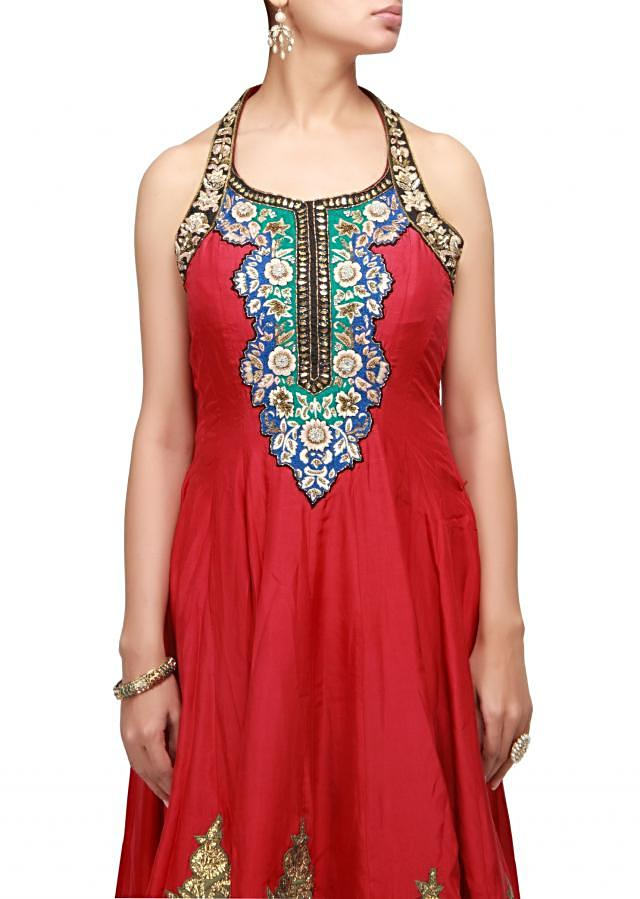 Maroon anarkali suit with resham and sequence work
