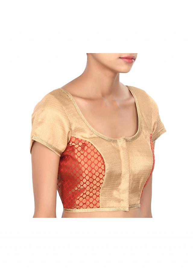 Maroon and beige blouse highlighted in gold lace only on Kalki
