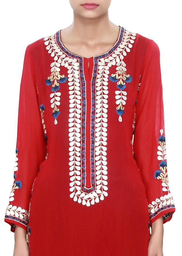 Maroon and navy blue straight suit in applique work only on Kalki