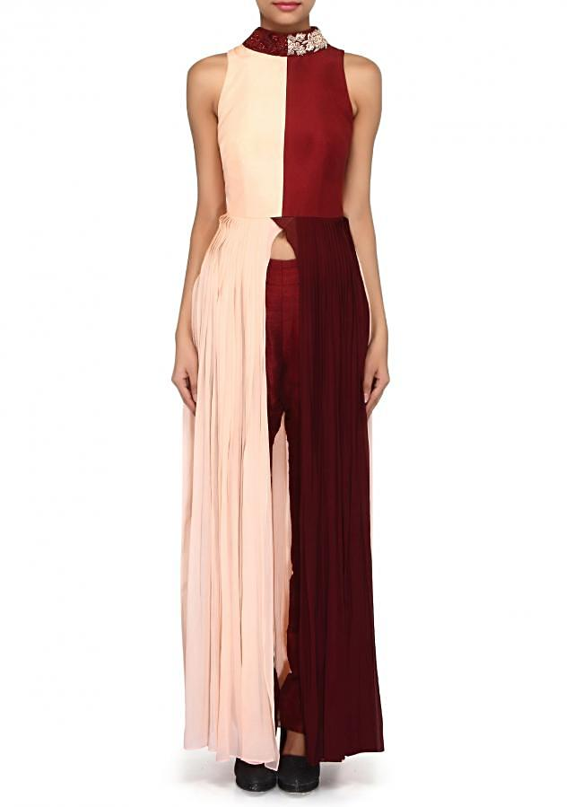Maroon and peach suit enhanced in embroidered collar and pleats only on Kalki