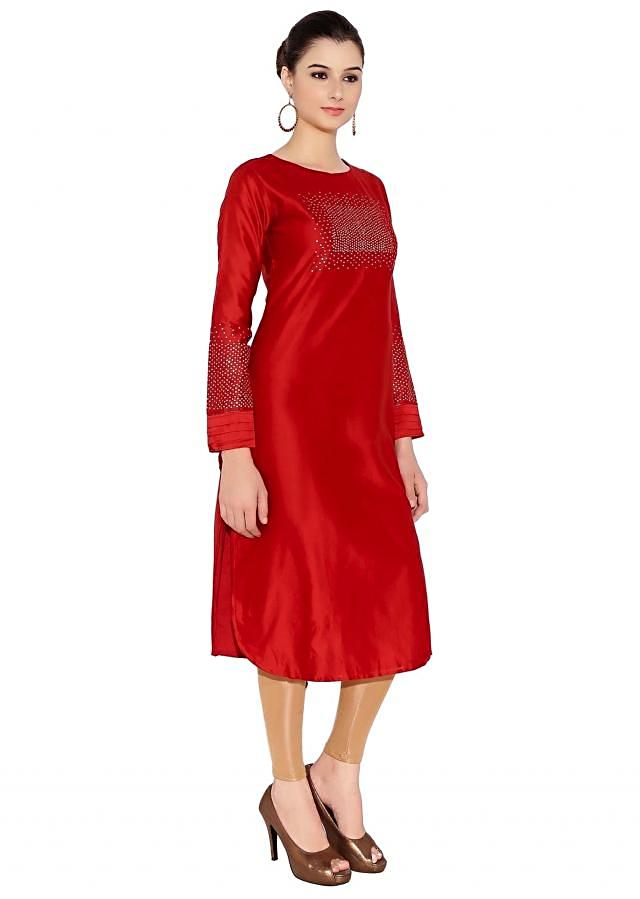 Maroon Cotton Kurti With Glamorous Sequins On Front And Sleeves Only On Kalki