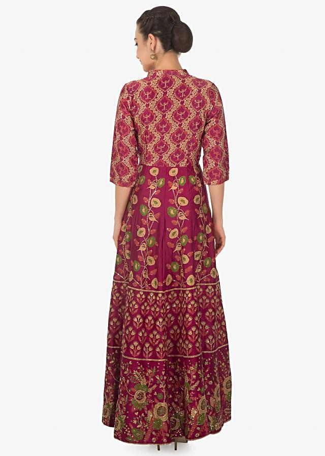 Maroon cotton print dress adorn with sequin motifs only on kalki