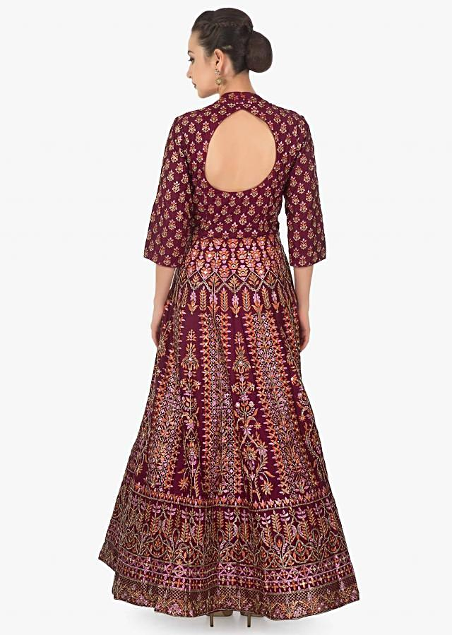 Maroon cotton silk floral print anarkali beautifully designed using print and cut dana only on kalki