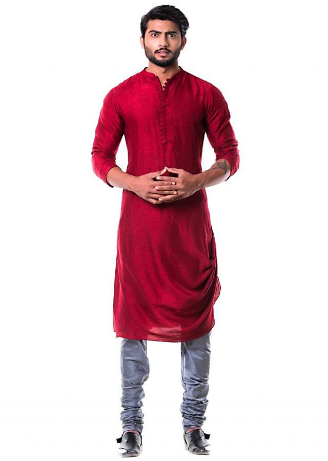 Maroon Cowl Kurta with Grey Churidar.